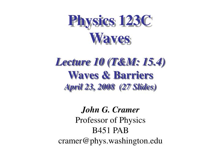 physics 123c waves n.