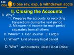ii closing the accounts