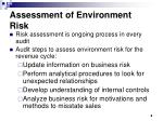 assessment of environment risk