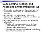 documenting testing and assessing environment risk 2