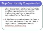 step one identify competencies