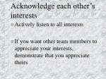 acknowledge each other s interests