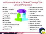 all communication is filtered through your cultural perspective