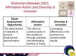 distinction between eeo affirmative action and diversity inclusion