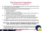 the economic imperative what does the research show