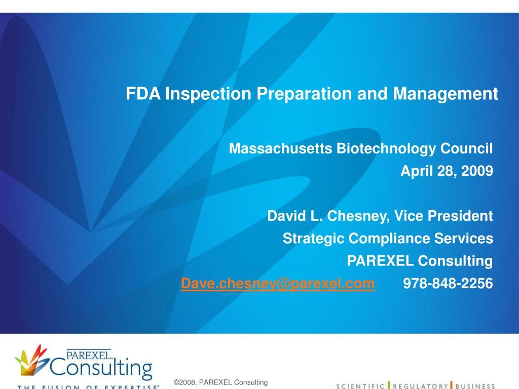 fda inspection preparation and management l.