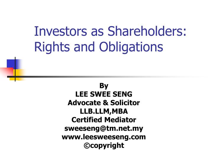 investors as shareholders rights and obligations n.