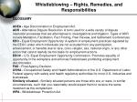 whistleblowing rights remedies and responsibilities