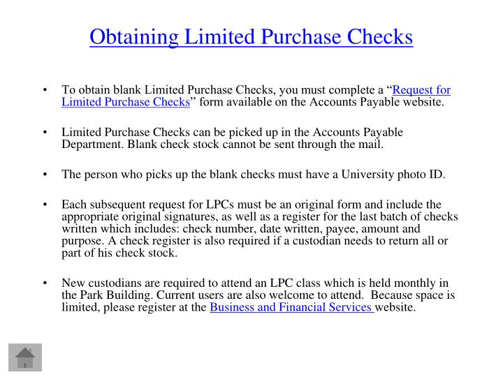 Obtaining Limited Purchase Checks