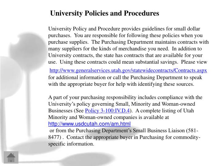University Policies and Procedures