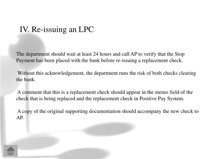IV. Re-issuing an LPC