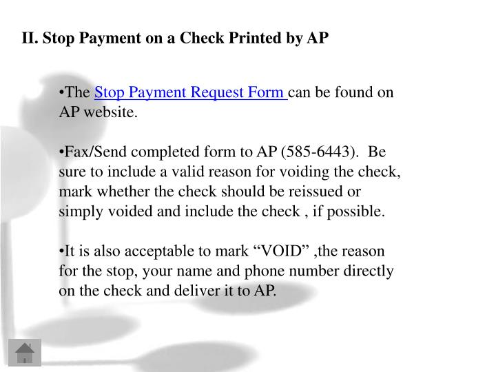 II. Stop Payment on a Check Printed by AP