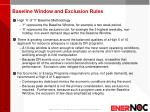baseline window and exclusion rules