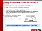baseline window and exclusion rules what we ve learned
