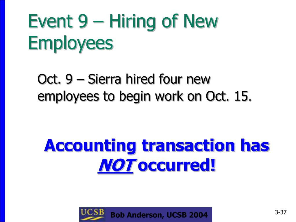 Event 9 – Hiring of New Employees