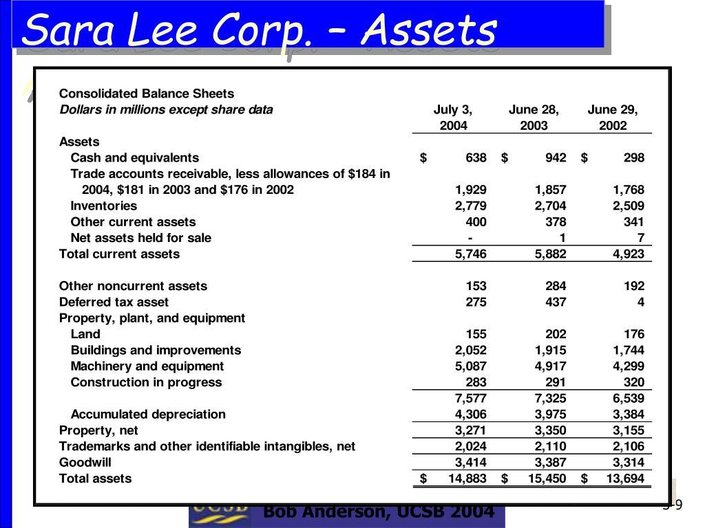 Sara Lee Corp. – Assets Accounts