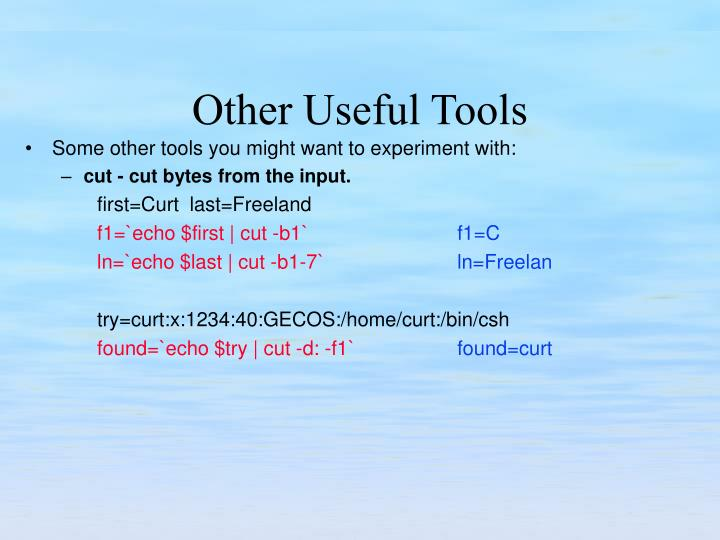 Some other tools you might want to experiment with:
