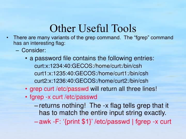"""There are many variants of the grep command.  The """"fgrep"""" command has an interesting flag:"""