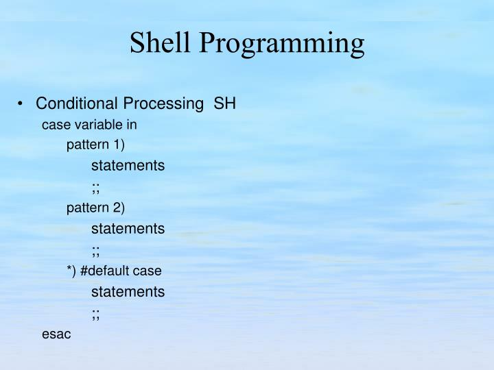 Conditional Processing  SH