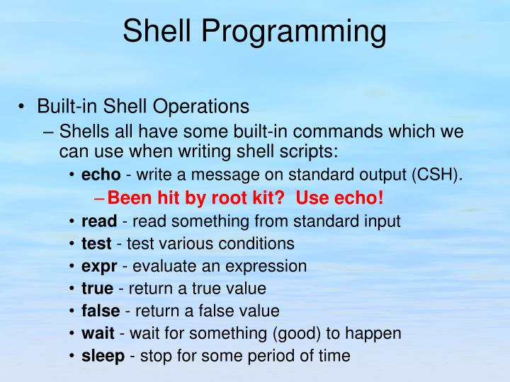 Built-in Shell Operations