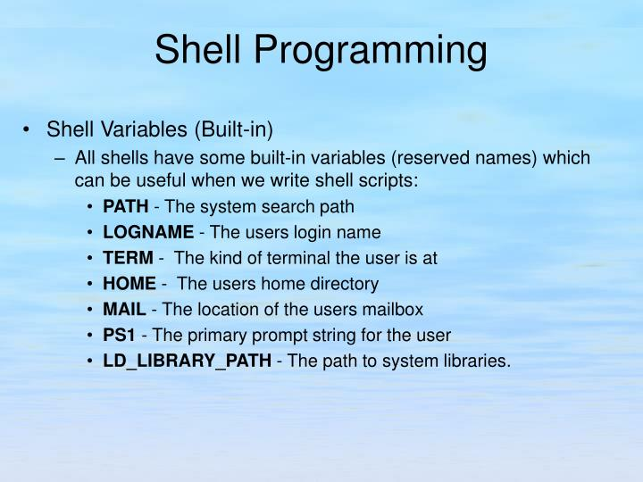 Shell Variables (Built-in)