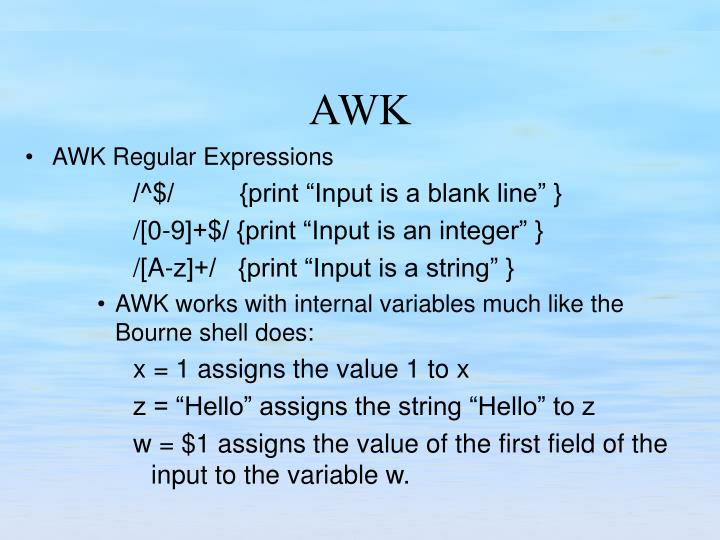 AWK Regular Expressions