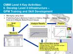 cmmi level 4 key activities 6 develop level 4 infrastructure qpm training and skill development