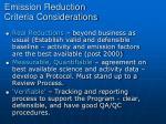 emission reduction criteria considerations