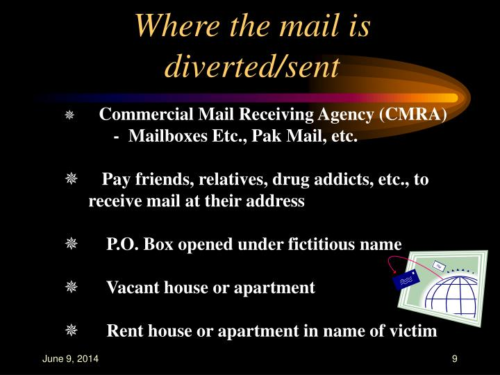 Where the mail is diverted/sent