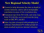 new regional velocity model