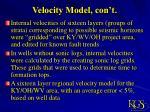 velocity model con t