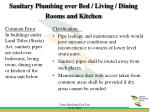 sanitary plumbing over bed living dining rooms and kitchen