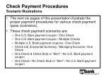 check payment procedures scenario illustrations
