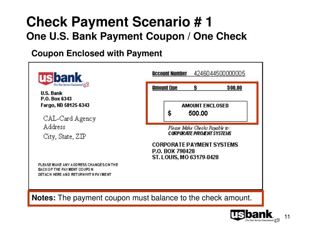 Check Payment Scenario # 1
