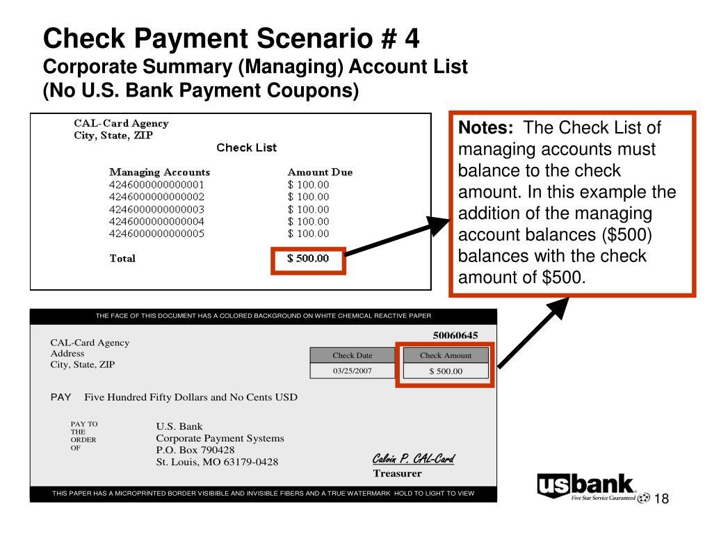 Check Payment Scenario # 4