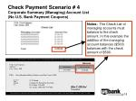 check payment scenario 4 corporate summary managing account list no u s bank payment coupons