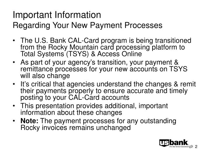 Important information regarding your new payment processes