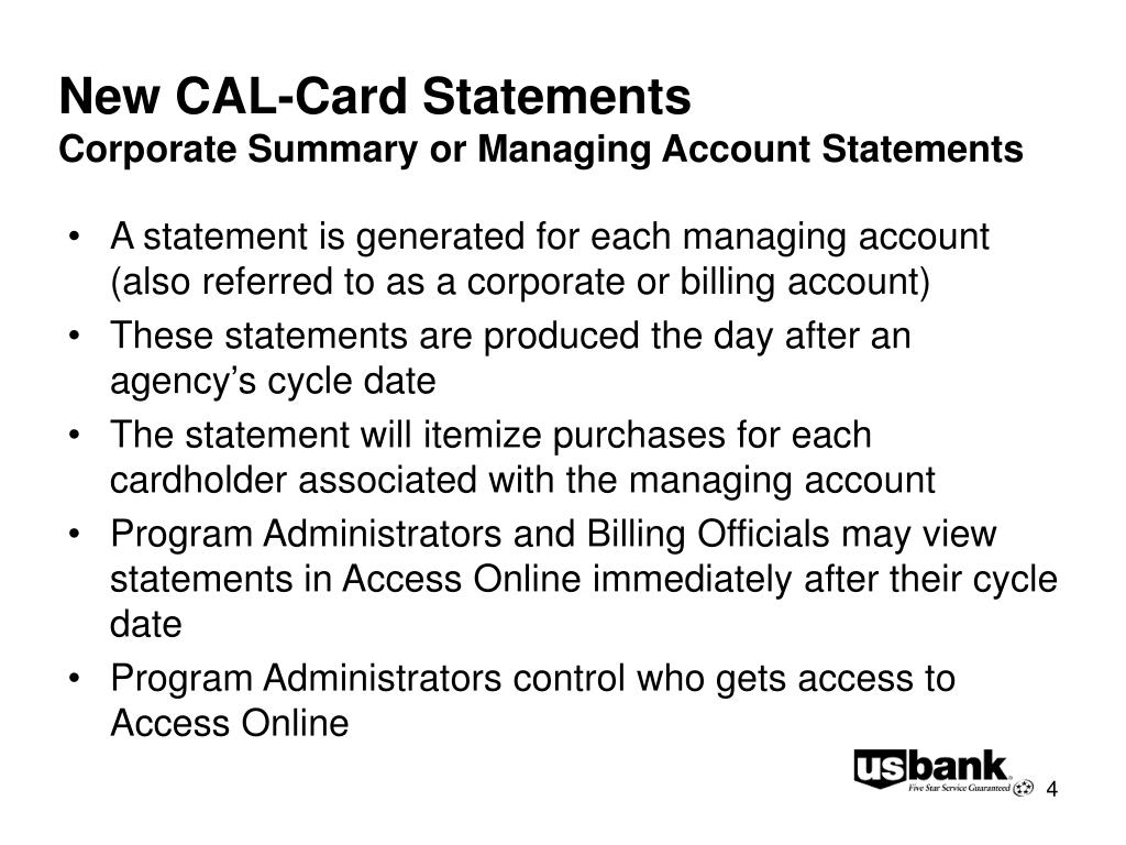 New CAL-Card Statements