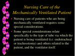nursing care of the mechanically ventilated patient