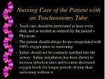 nursing care of the patient with an tracheostomy tube