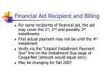 financial aid recipient and billing