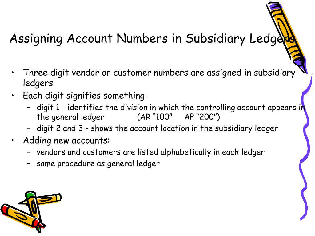 Assigning Account Numbers in Subsidiary Ledgers