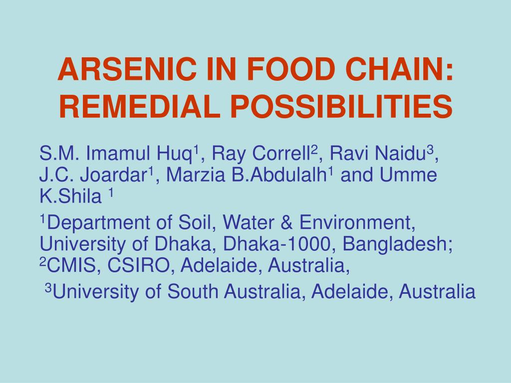 arsenic in food chain remedial possibilities l.