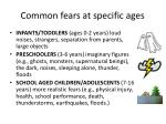 common fears at specific ages