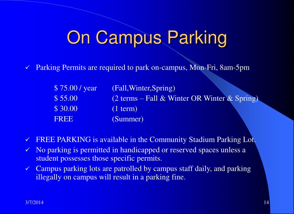 On Campus Parking