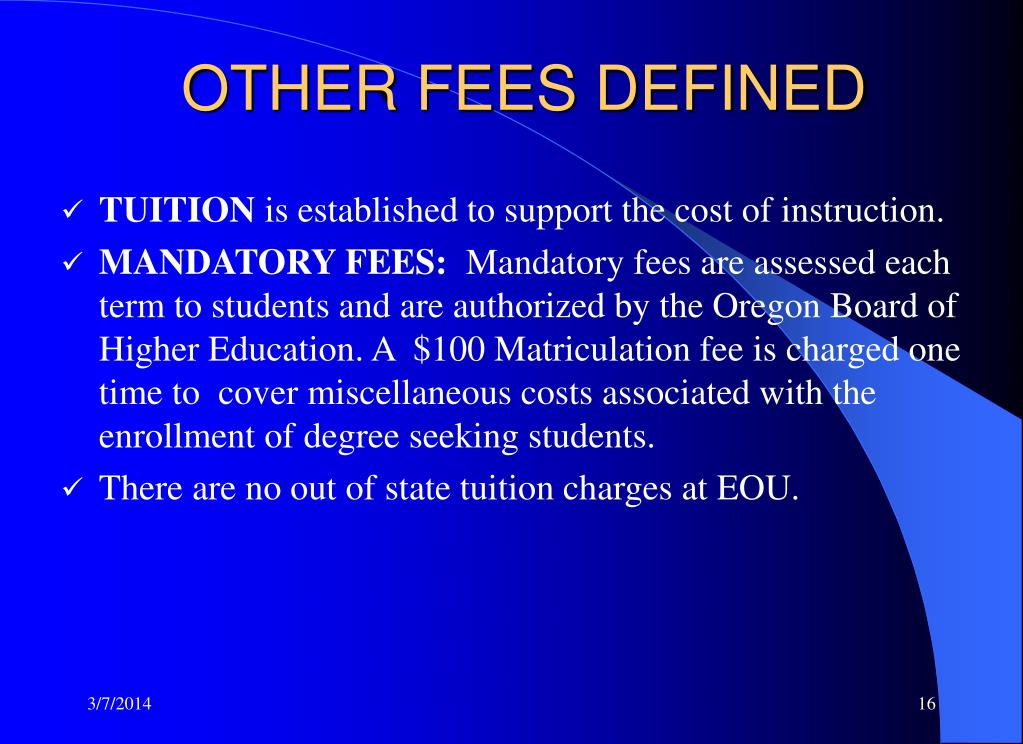 OTHER FEES DEFINED