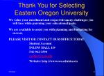 thank you for selecting eastern oregon university
