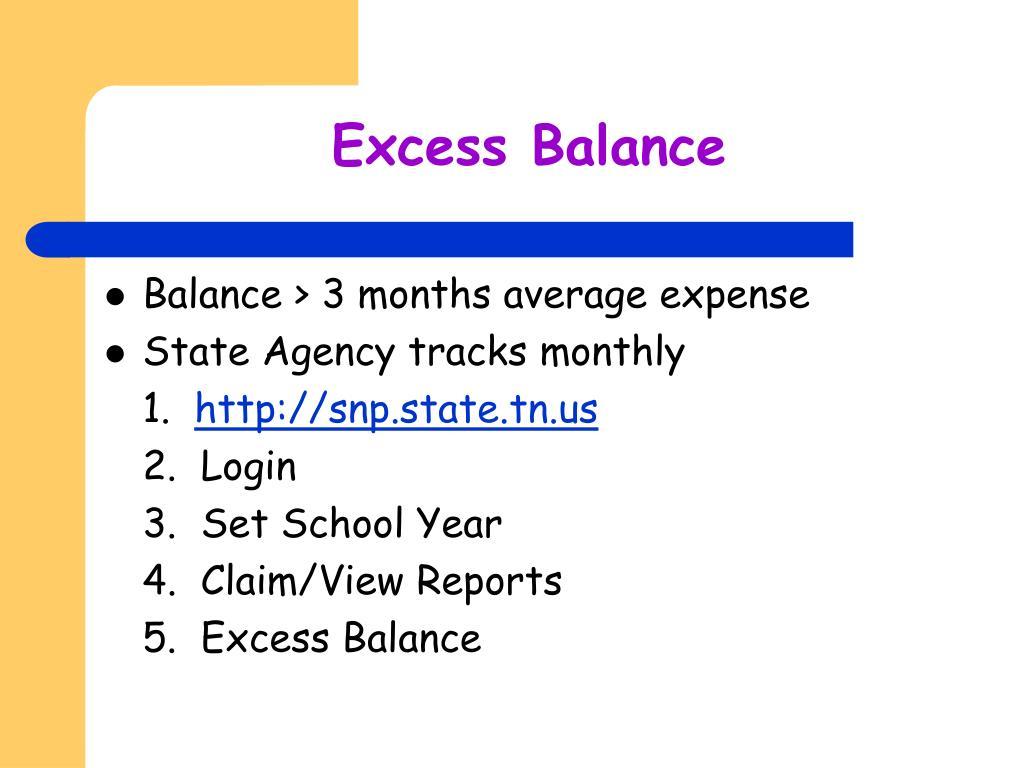 Excess Balance
