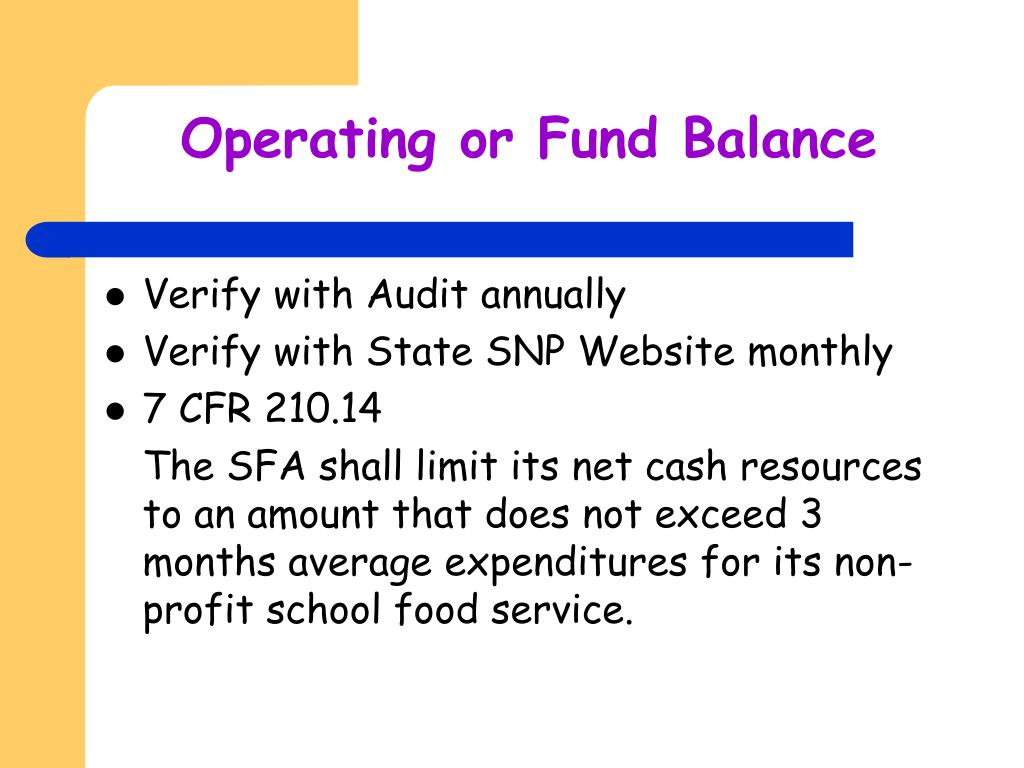 Operating or Fund Balance