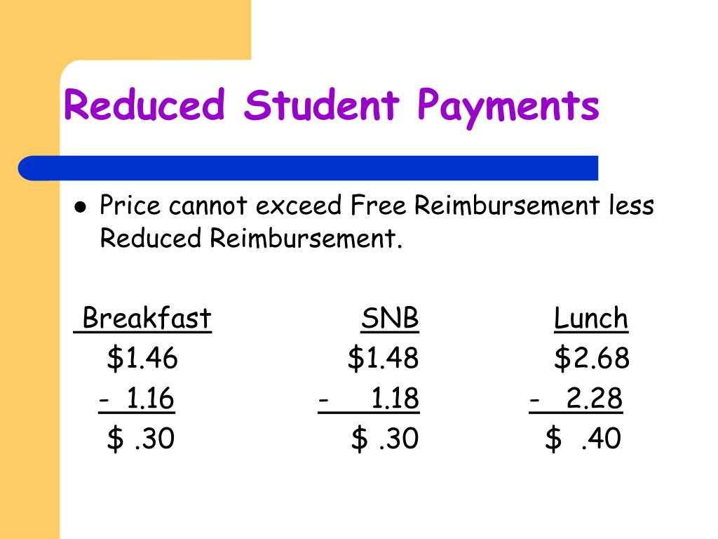 Reduced Student Payments